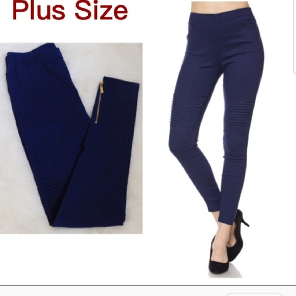 6def5b32f65 Navy Blue Plus Size Leggings with Ankle Zipper.